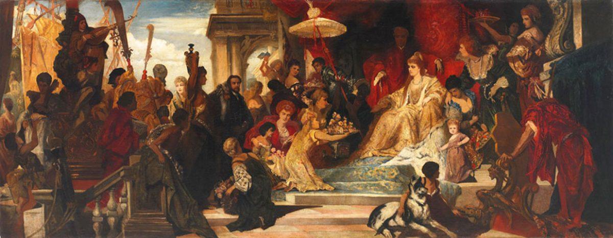 «Η Βενετία τιμά την Αικατερίνη Κορνάρο», του Γερμανού ζωγράφου Ernest J. Preyer. Λάδι σε καμβά, 1874. Λεβέντειο Δημοτικό Μουσείο Λευκωσίας. Συλλογή: Μιχάλης Ζεϊπέκκης.