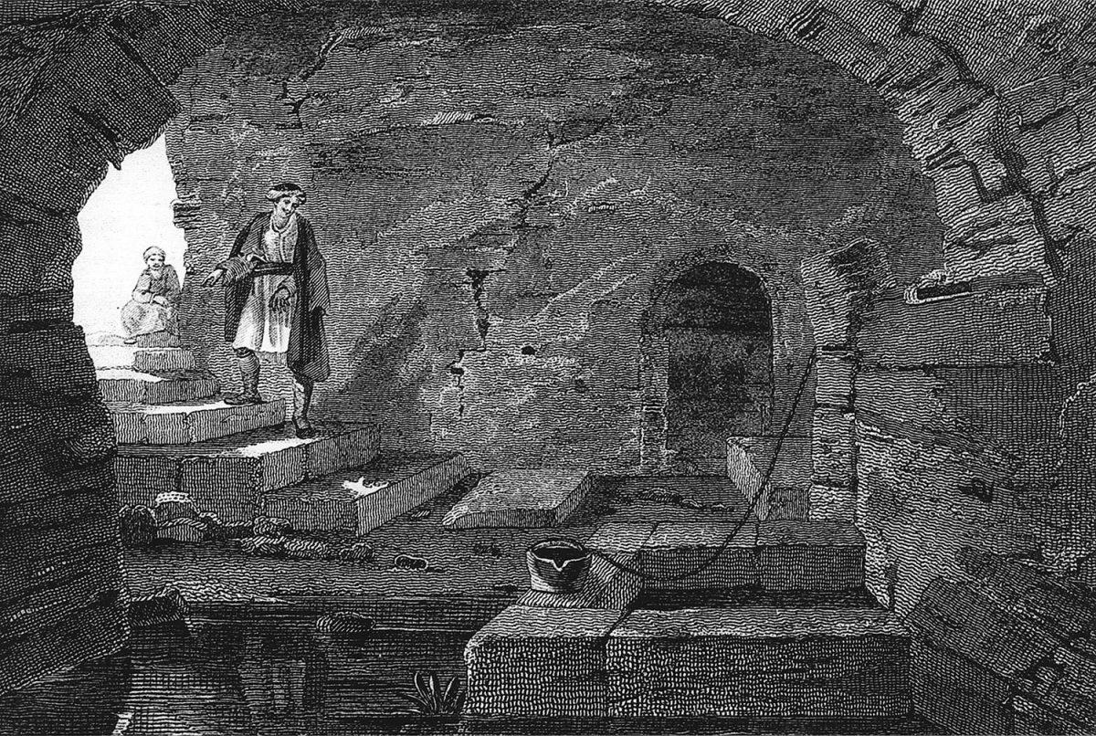 Πάτρα, Ιερή Πηγή Δήμητρας - Πηγάδι Αγίου Ανδρέα. Χαλκογραφία από την έκδοση E. Dodwell, «A Classical and Topographical Tour through Greece», Λονδίνο 1819.
