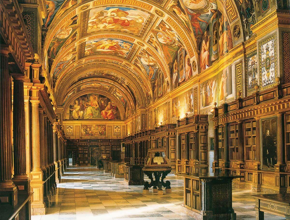 Γενική άποψη της αίθουσας της βιβλιοθήκης του Escorial, σύμφωνα με τα σχέδια του J. Herrera.