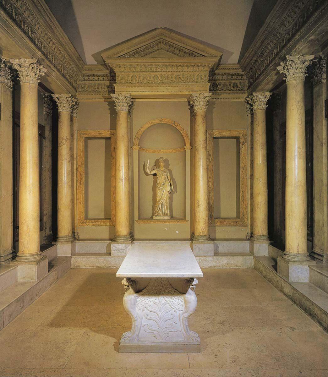 Άποψη της υποθετικής ανακατασκευής της βιβλιοθήκης στην έπαυλη του Αδριανού στο Τίβολι. Museo della Civiltà Romana.