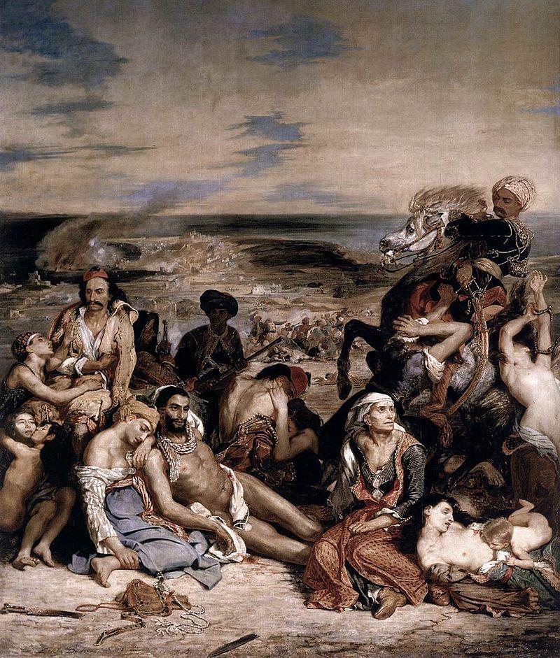 «Σφαγή της Χίου», έργο του Ευγένιου Ντελακρουά. Λούβρο, Παρίσι.