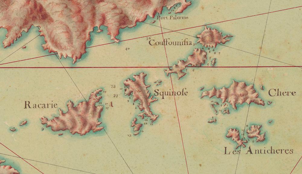 Κουφονήσια, Κέρος, Σχοινούσα και Ηρακλειά. Χάρτης από τη «Συλλογή χαρτών ενός μέρους του Αρχιπελάγους» (Πηγή: ΑΠΘ).