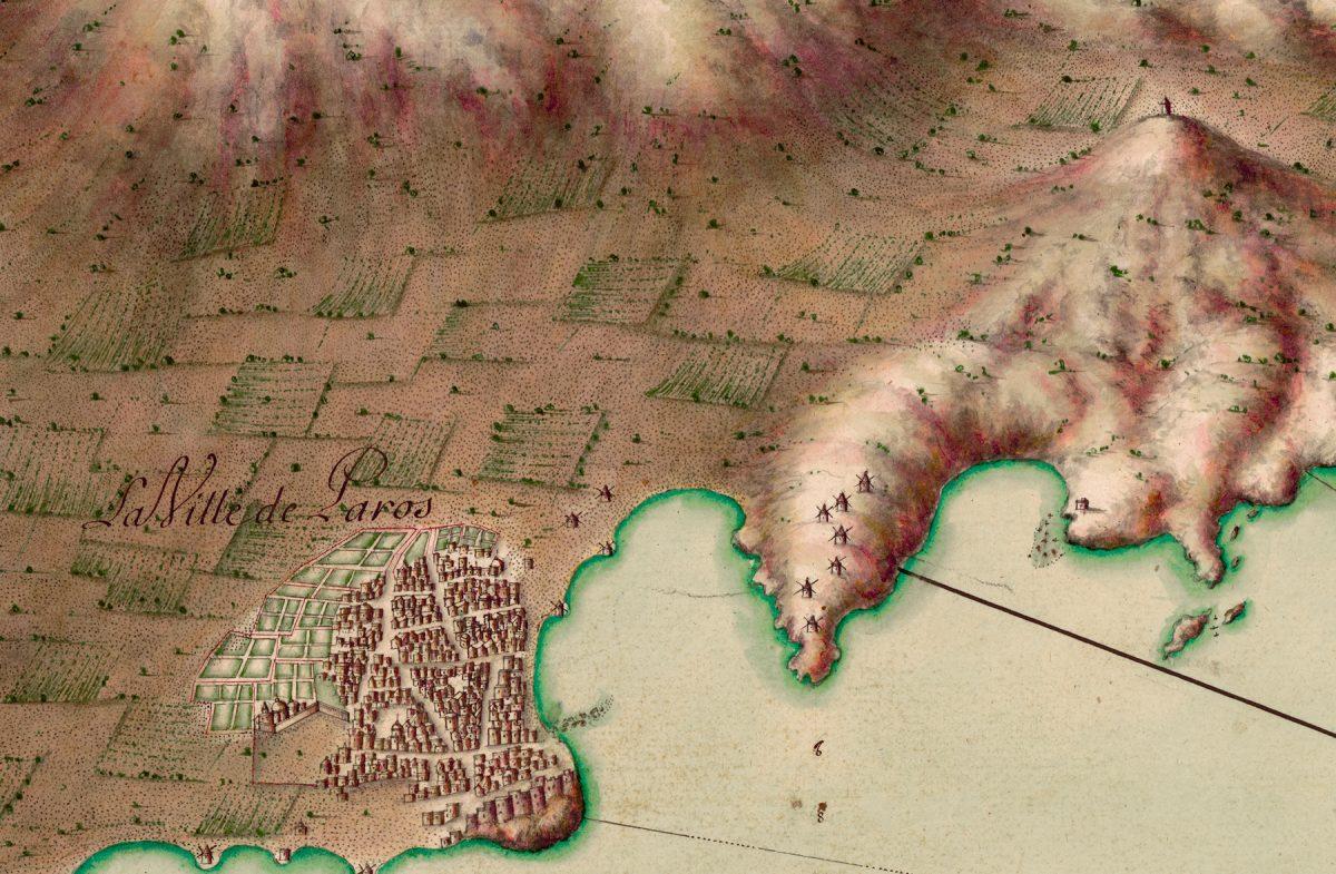 Η Πάρος. Χάρτης από τη «Συλλογή χαρτών ενός μέρους του Αρχιπελάγους» (Πηγή: ΑΠΘ).