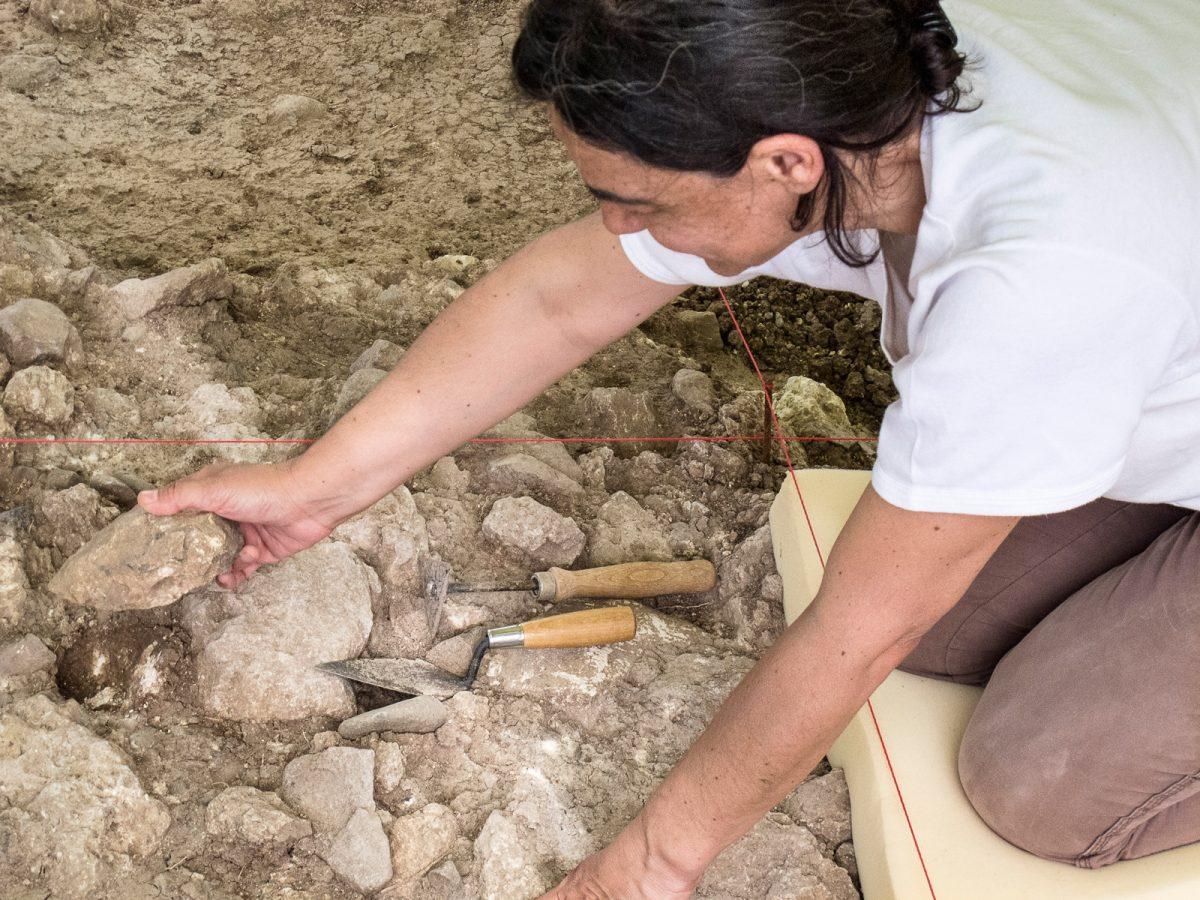Εικ. 8. Αχελαίος χειροπέλεκυς κατασκευασμένος σε μεγάλη φολίδα καθώς βγαίνει από σκάμμα στα Ροδαφνίδια Λέσβου.
