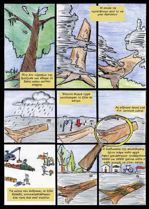 Μέσα από τα εντυπωσιακά σκίτσα και κείμενα του ταλαντούχου Μανώλη Αντωνάκη ξεδιπλώνεται η ιστορία του Απολιθωμένου Δάσους Λέσβου.