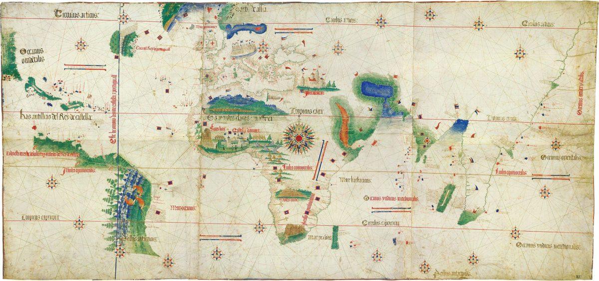 Ο παγκόσμιος χάρτης του Αλμπερτ Καντίνο, του 1502, εισάγει για πρώτη φορά τη γεωπολιτική στη χαρτογράφηση. Biblioteca Universitaria Estense, Modena (φωτ. Wikipedia).