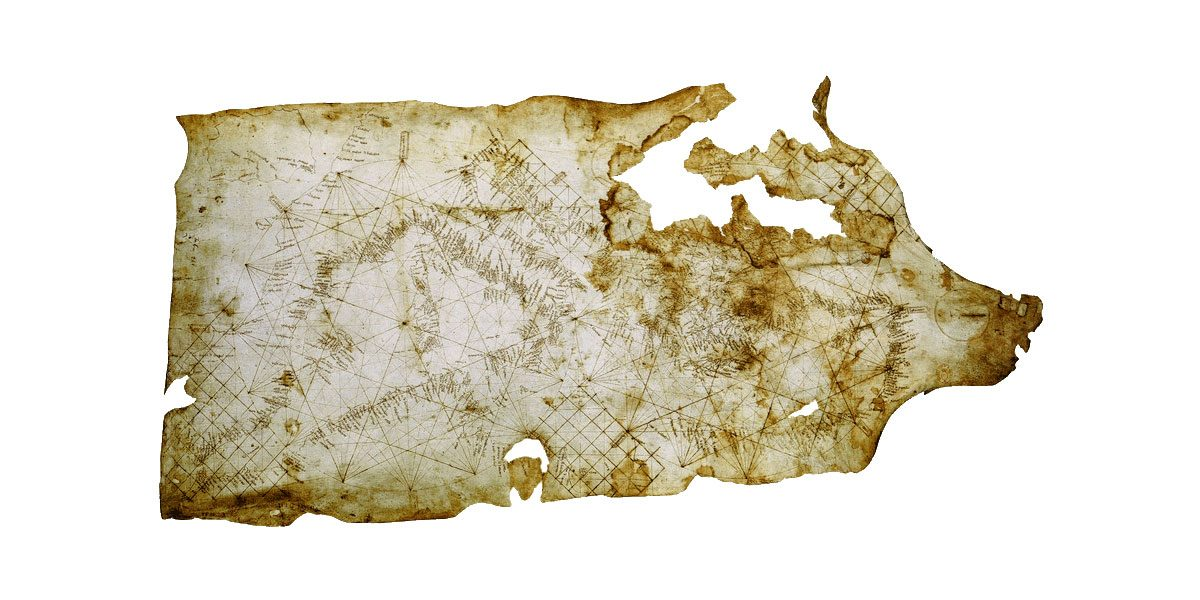 H Carta Pisana, χάρτης του 13ου αιώνα, χαραγμένος πάνω σε δέρμα ζώου (φωτ. Wikipedia).