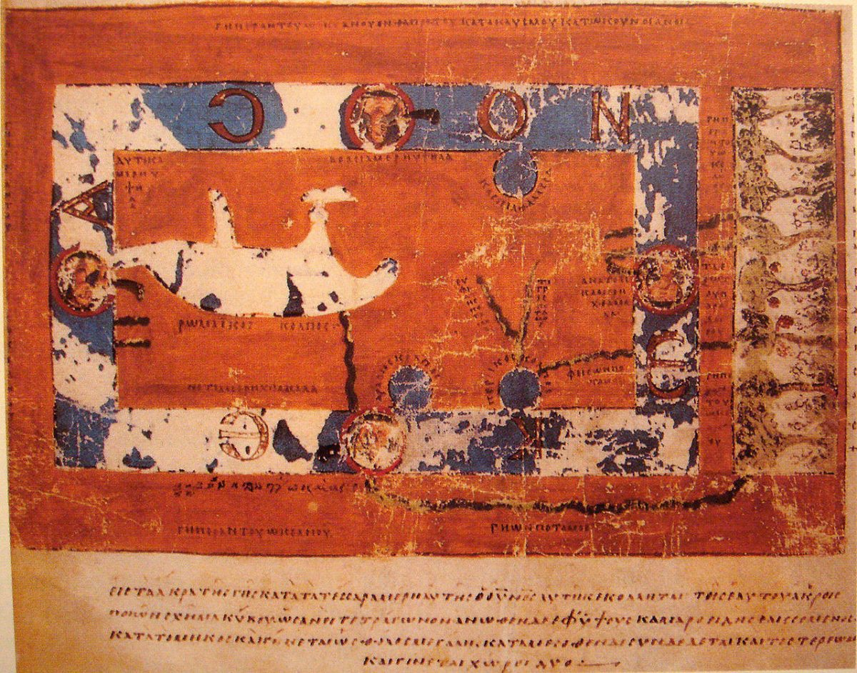 Χάρτης του Κοσμά του Ινδικοπλεύστη με τον Παράδεισο στην Ανατολή. 6ος αι. μ.Χ. (φωτ. Wikipedia).