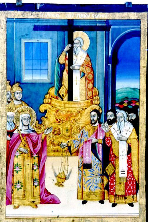 Εικ. 16β. Εικόνα Ύψωσης Τιμίου Σταυρού 1889. Άλλοτε στη Δημοτική Πινακοθήκη Θεσσαλονίκης.
