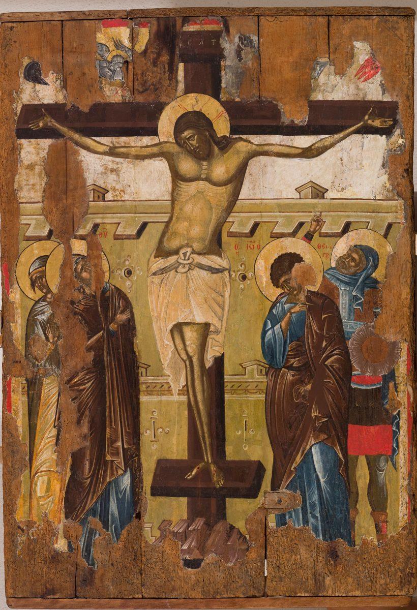 Εικ. 17β. Η Σταύρωση στην πίσω πλευρά της εικόνας του Χριστού Παντοκράτορα, 14ος αι.