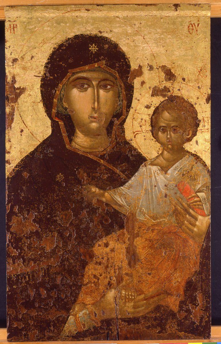 Εικ. 18α. Εικόνα Παναγίας Βρεφοκρατούσας, περί το 1300, από τον κοιμητηριακό ναό της Ευαγγελίστριας στη Θεσσαλονίκη.