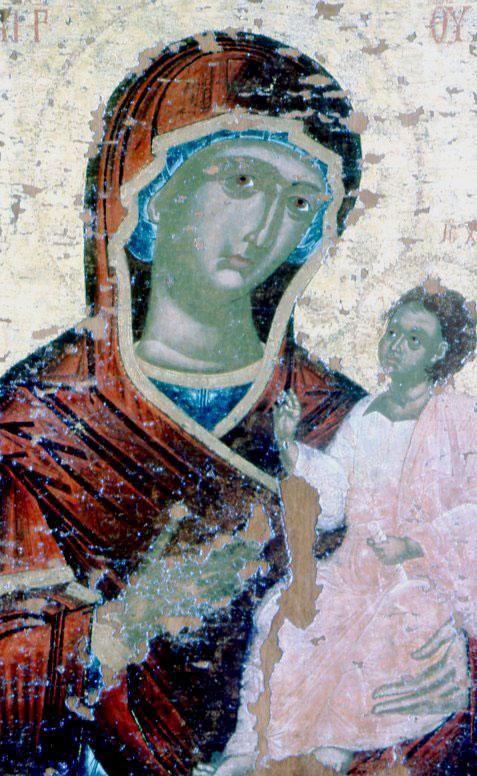 Εικ. 18β. Η επιζωγράφιση του 18ου αι. στην εικόνα της Παναγίας του 1300.