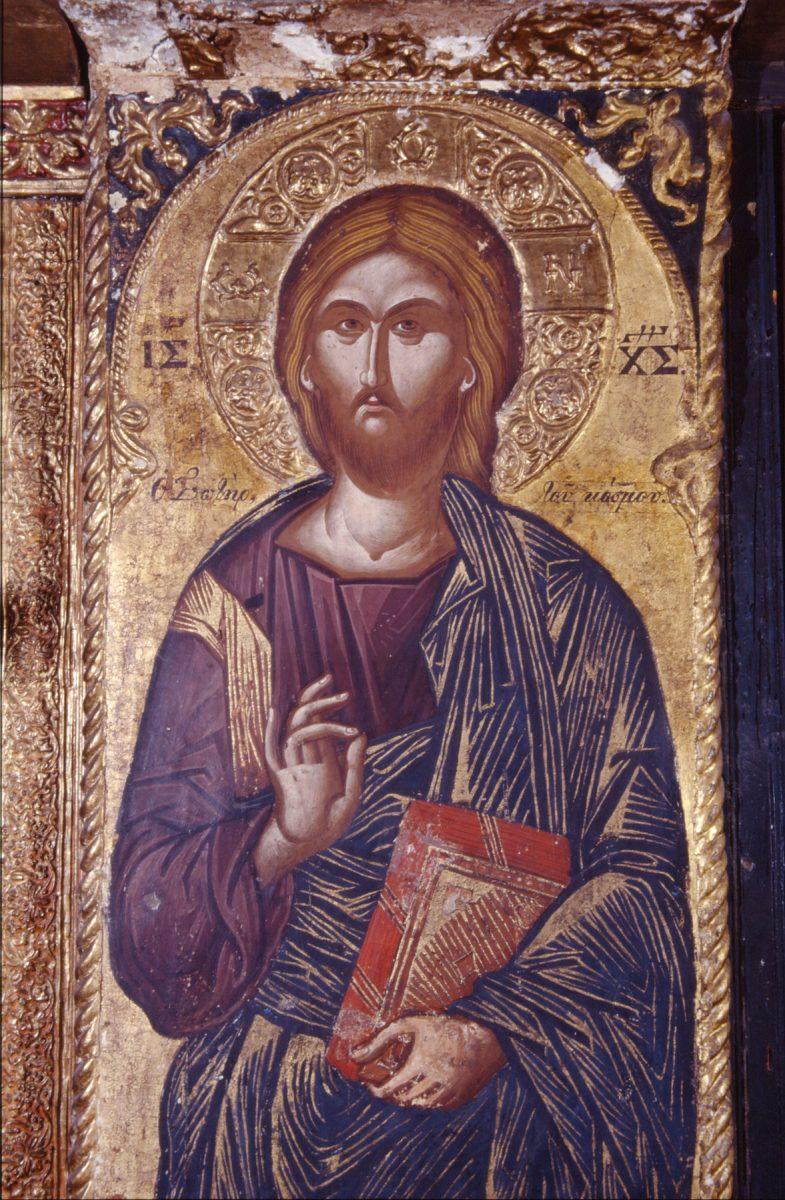 Εικ. 19. Μονή Βαρλαάμ Μετεώρων, τοιχογραφία του Χριστού Σωτήρα του Κόσμου, 1548. Αποδίδεται στο ζωγράφο Φράγγο Κατελάνο.