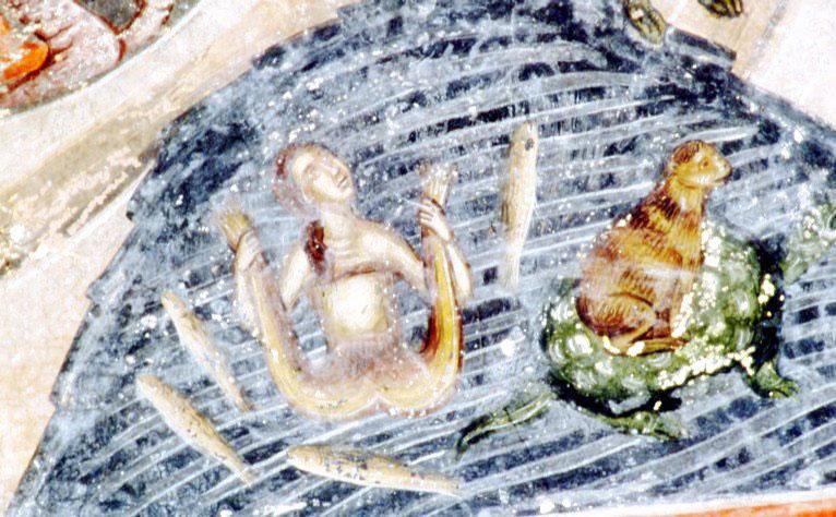 Εικ. 21. Ναός Αγίου Νικολάου στο Μονοδένδρι Ζαγορίου. Ζωγράφοι Μιχαήλ και ο γιος του Κωνσταντίνος, 1619-1620. Λεπτομέρεια από τους Αίνους με το μοτίβο της χελώνας που μεταφέρει πίθηκο.