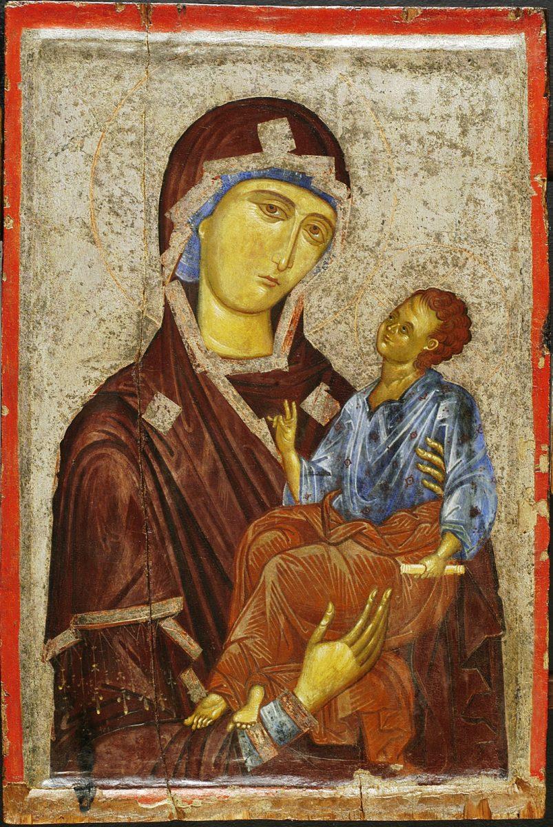 Εικ. 24. Εικόνα με την Παναγία Βρεφοκρατούσα, 14ος αι. Εθνικό Μουσείο Μεσαιωνικής Τέχνης Κορυτσάς.