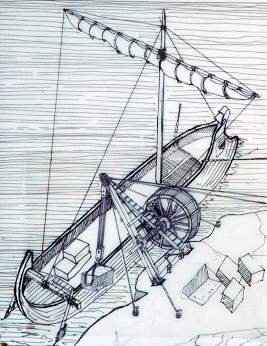 Σχεδιαστική αναπαράσταση ανυψωτικής μηχανής που φορτώνει τους μαρμάρινους όγκους στο πλοίο (φωτ. ΑΠΕ-ΜΠΕ).