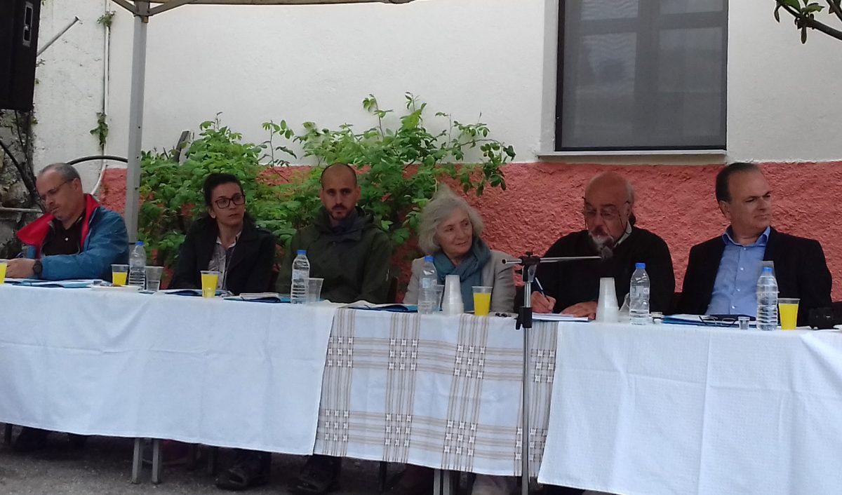 Από αριστερά: ο Δ. Μιχελογιάννης, η Κ. Ροβύθη, ο Φ. Τσαραβόπουλος, η Α. Παπαδοπεράκη, ο Γ. Λελεδάκης και ο Γ. Μαρινάκης.