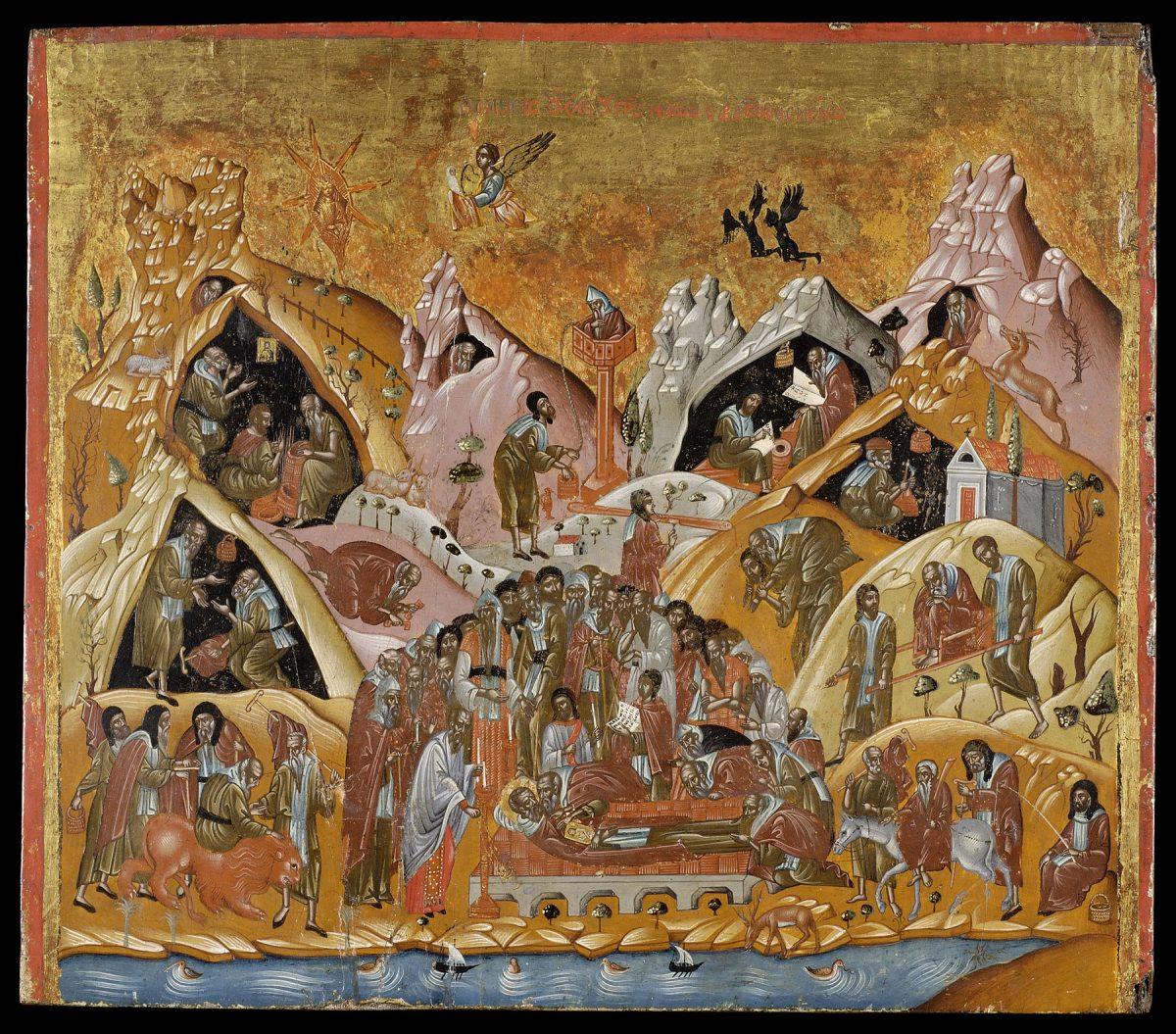 Εικ. 12. Η Κοίμηση του οσίου Σάββα. Αυγοτέμπερα σε ξύλο. Κρητικό εργαστήριο, τέλος 16ου–αρχές 17ου αι. Δωρεά Ελένης Σταθάτου. Μουσείο Μπενάκη Ελληνικού Πολιτισμού 21167. © Μουσείο Μπενάκη Οι ασκητές στην εικόνα κατοικούν έναν εξιδανικευμένο τόπο αγιότητας παρόμοιο με τις βραχώδεις ερήμους της Παλαιστίνης και του Σινά.