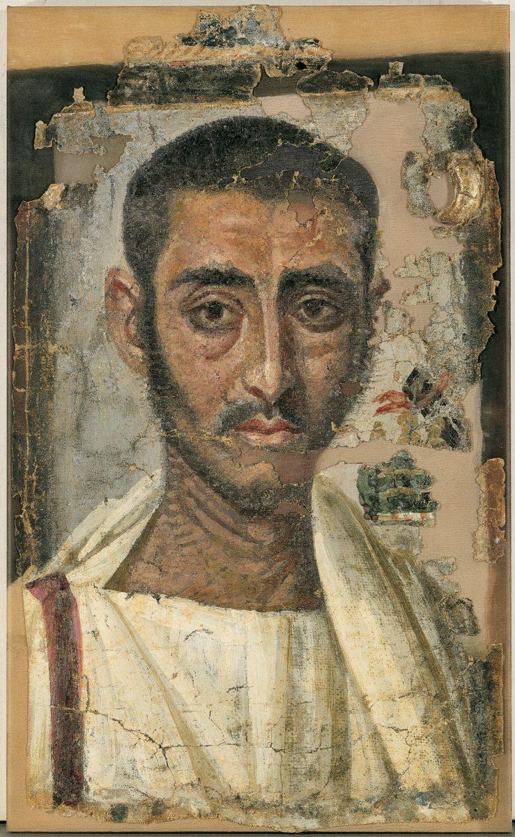 Εικ. 16. Νεκρικό πορτρέτο, εγκαυστική πάνω σε λινό. Αντινοόπολη, Αίγυπτος, β΄ τέταρτο 3ου αι. μ.Χ. Μουσείο Μπενάκη Ελληνικού Πολιτισμού 6878. © Μουσείο Μπενάκη.
