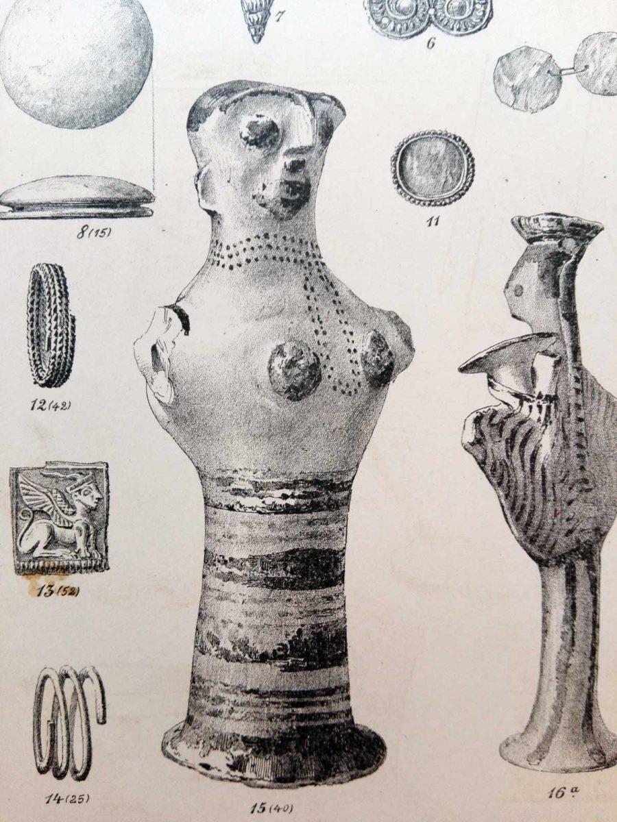 Το σχέδιο του μυκηναϊκού ειδώλου (Π 2494) όπως αναπαρήχθη από τον ανασκαφέα του Χρήστο Τσούντα στην Αρχαιολογική Εφημερίδα του 1888.