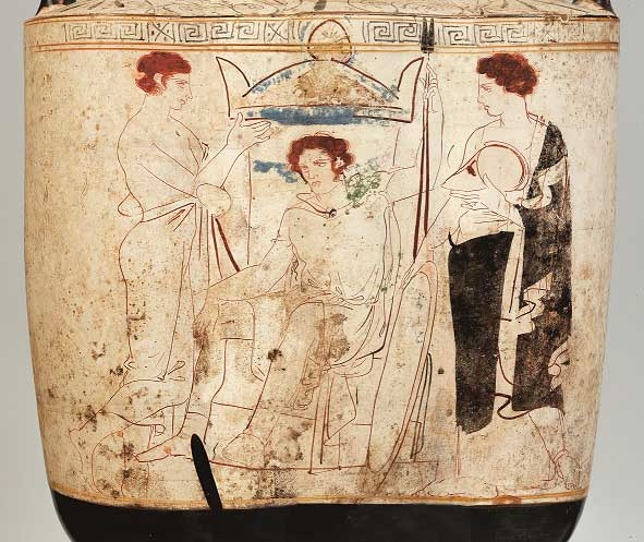 Αττική λευκή λήκυθος με παράσταση πολεμιστή καθισμένου στον τάφο του. Από την Ερέτρια. 410-400 π.Χ. (© Εθνικό Αρχαιολογικό Μουσείο/TAΠΑ).