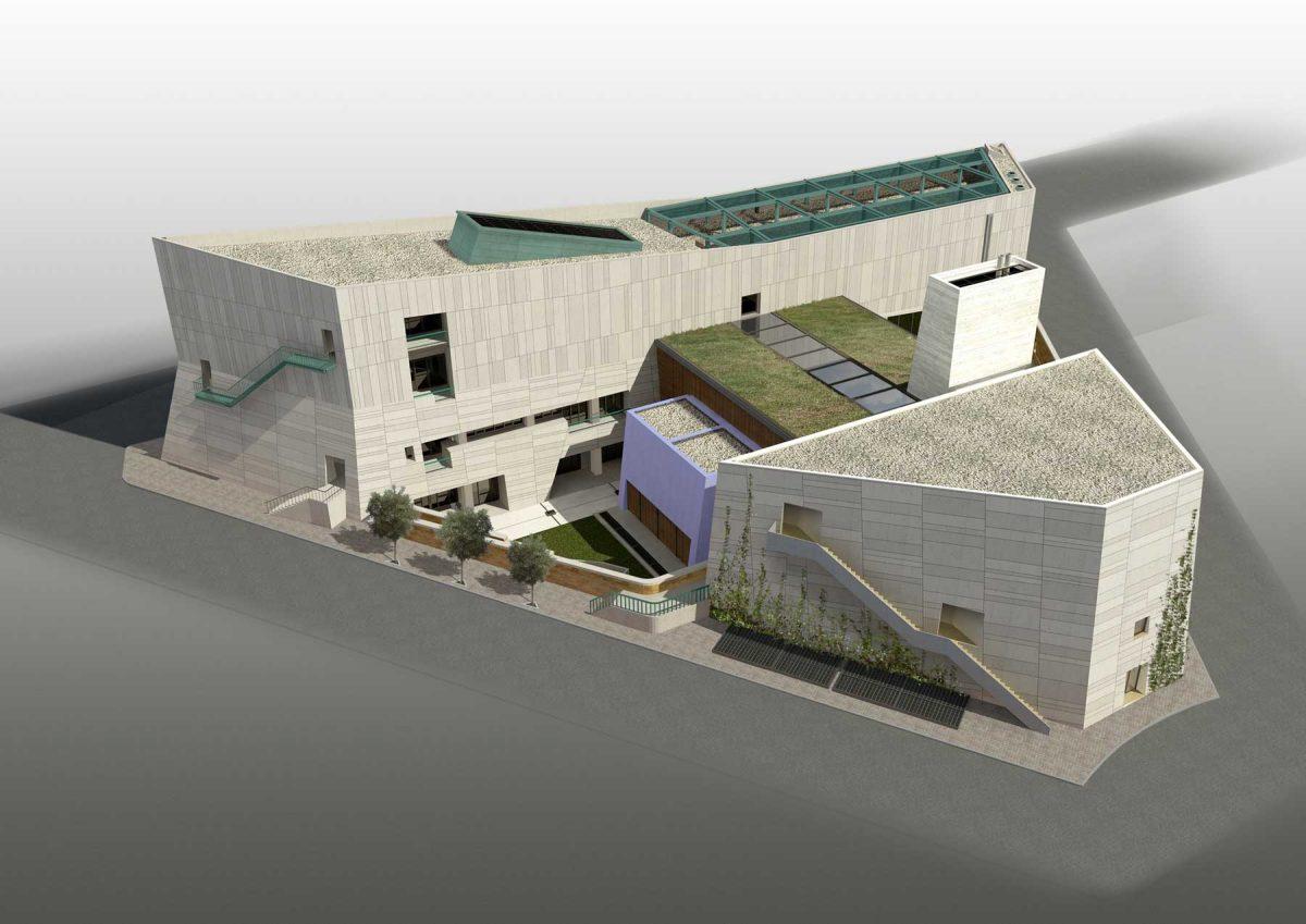 Γενική άποψη του κτιριακού συγκροτήματος. Φωτ.: Κοβεντάρειος Δημοτική Βιβλιοθήκη Κοζάνης και Αρχιτεκτονικό Γραφείο Π. Τζώνου.