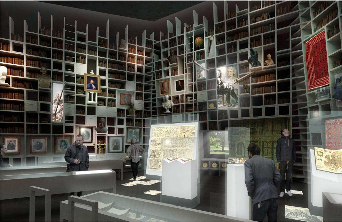 Εσωτερικό προοπτικό του μουσείου. Φωτ.: Κοβεντάρειος Δημοτική Βιβλιοθήκη Κοζάνης και Αρχιτεκτονικό Γραφείο Π. Τζώνου.