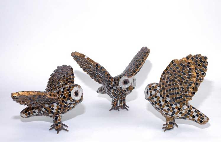 Αφροδίτη Λίτη, «Κουκουβάγιες», 2015, 40x24x23 εκ., Μέταλλο, Ψηφίδες Murano.