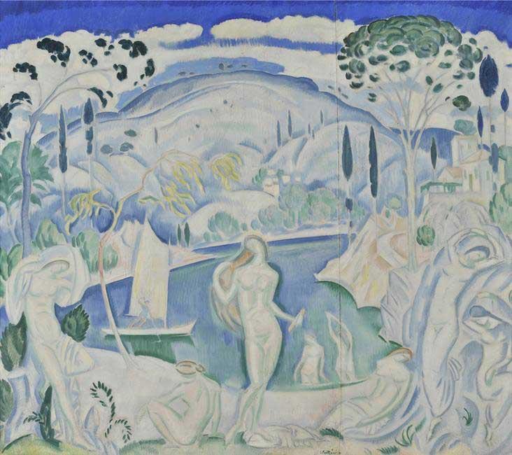 Κωνσταντίνος Παρθένης, «Λουόμενες», πριν το 1919. Λάδι σε μουσαμά, 114x130 εκ. Δωρεά Σοφίας Παρθένη. Εθνική Πινακοθήκη (Αρ. έργου: Π.6504).