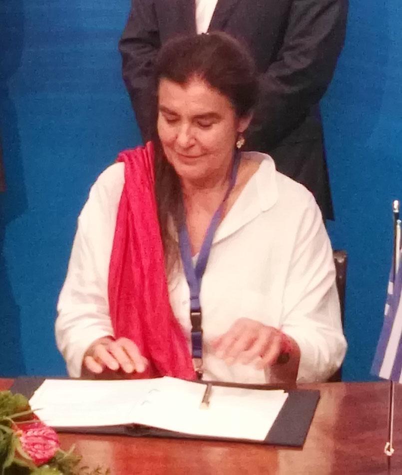 H υπουργός Πολιτισμού και Αθλητισμού, Λυδία Κονιόρδου, κατά την υπογραφή του μνημονίου συνεργασίας (φωτ. ΥΠΠΟΑ).