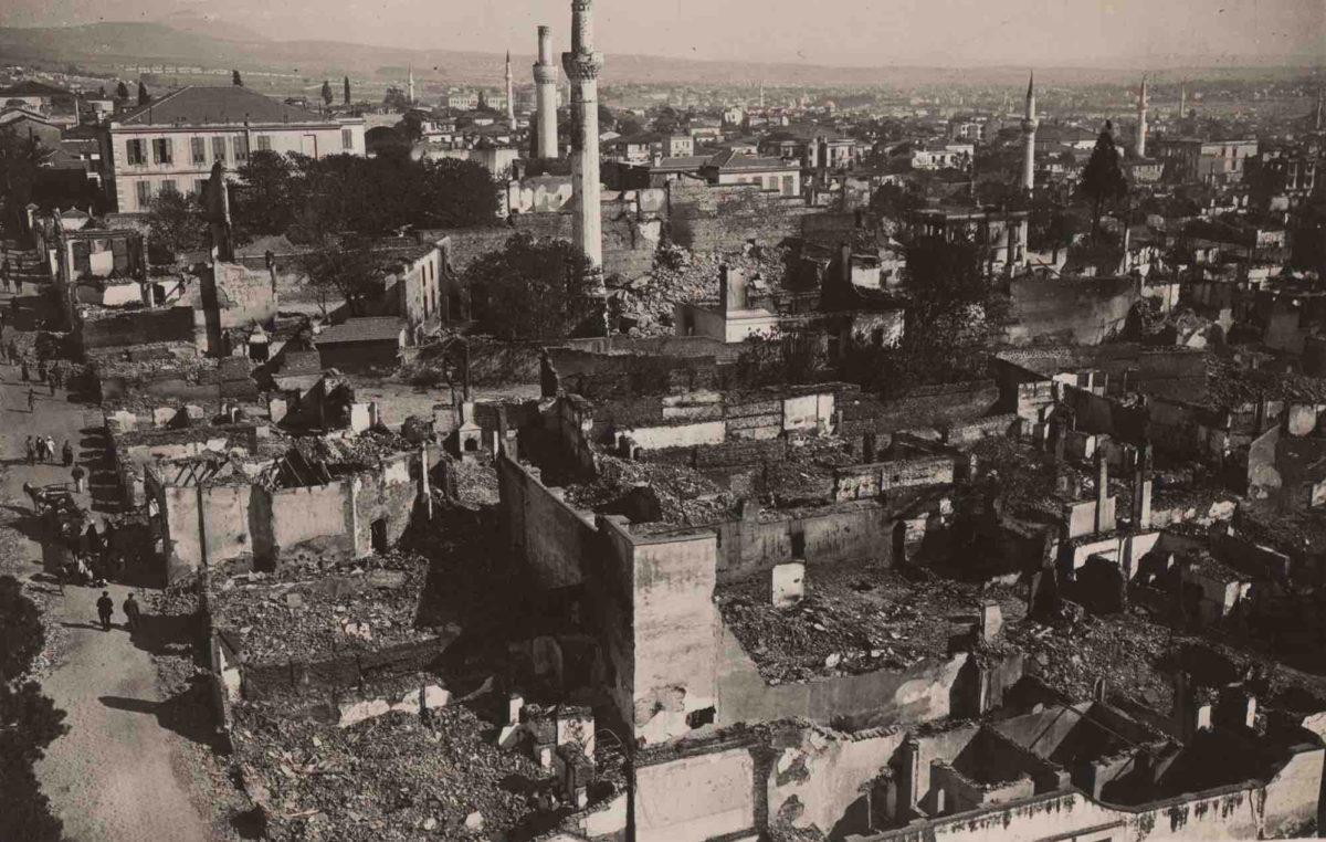 Άποψη της Θεσσαλονίκης μετά τη Μεγάλη Πυρκαγιά. Φωτογραφία από τη Συλλογή Γιώργου Δέλλιου.