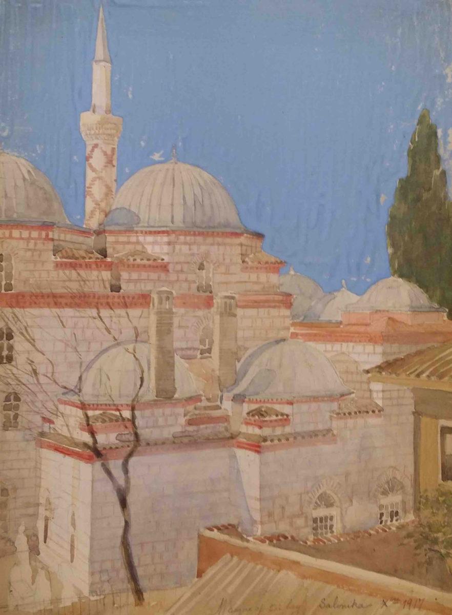 Το Αλατζά Ιμαρέτ της Θεσσαλονίκης σε έργο από τη Συλλογή Μάνου Χαριτάτου.