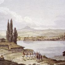 Άποψη του Κάστρου από το Νησί. Διακρίνονται οι δύο ακροπόλεις. Χαλκογραφία από το βιβλίο του Th.S. Hughes, Travels in Sicily, Greece and Albania, London 1820.
