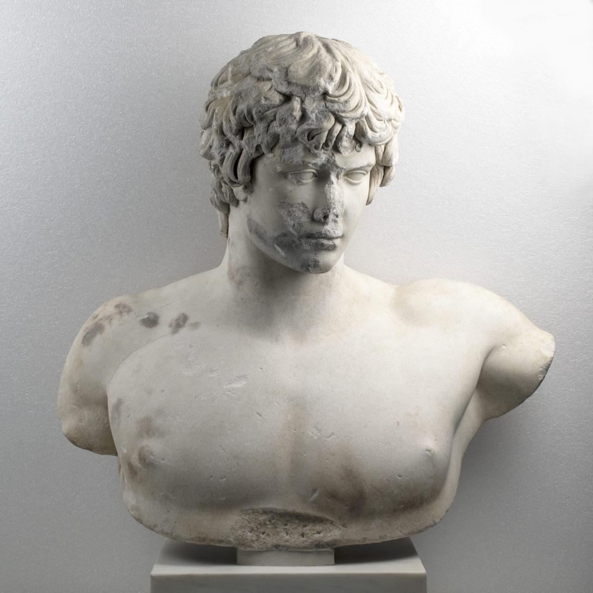 Γυμνή προτομή με κεφαλή του Αντίνοου. Βρέθηκε στην Πάτρα το 1856. Χρονολογείται λίγο μετά το 130 μ.Χ. Αρ. ευρ. Γ 418. (Φωτογραφικό Αρχείο Εθνικού Αρχαιολογικού Μουσείου)
