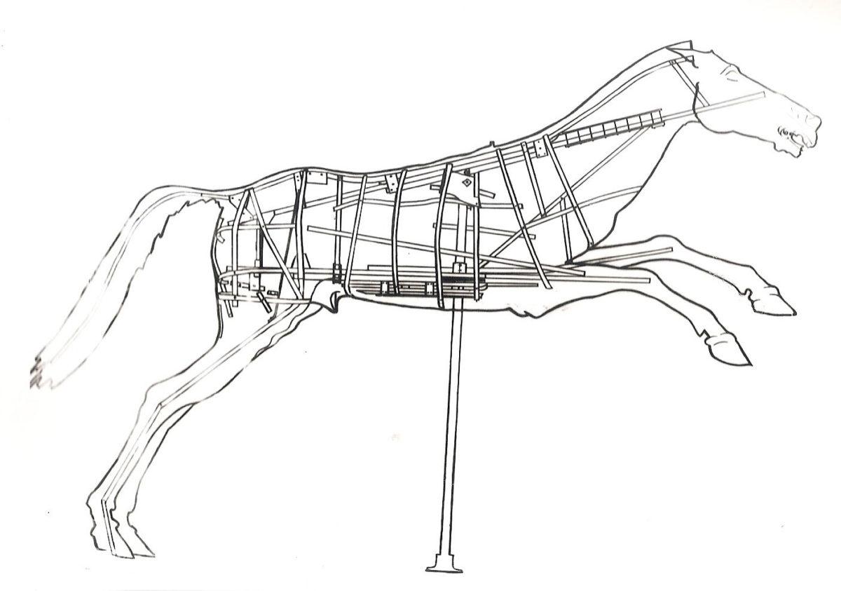 Εσωτερικός σκελετός στήριξης της δεκαετίας του 1970 στο άλογο του Αρτεμισίου (© TAΠΑ, δημοσιευμένο στο Καλλιπολίτης 1972).