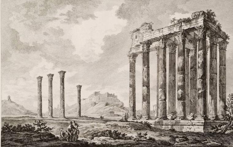 Ο ναός του Ολυμπίου Διός (Ολυμπιείο), η κατασκευή του οποίου ξεκίνησε επί Πεισίστρατου (6ος αι. π.Χ.) και ολοκληρώθηκε από τον αυτοκράτορα Αδριανό. (Le Roy, J.D., Les ruines des plus beaux monuments de la Grèce, Paris 1758).