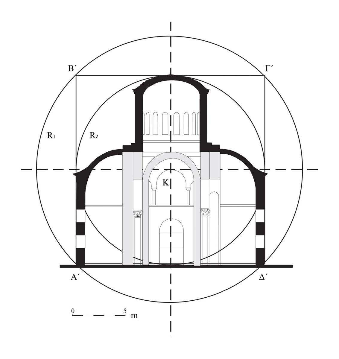 Εικ. 7. Τομή κατά πλάτος. Γεωμετρικός σχεδιασμός.