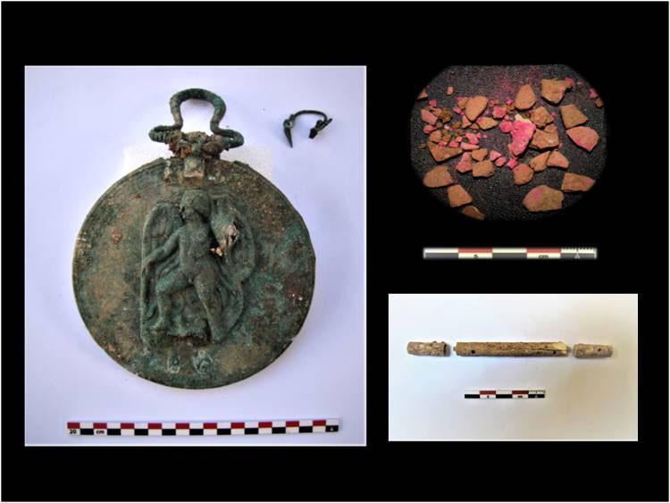 Ευρήματα από την ανασκαφική έρευνα στην Αρχαία Τενέα που πραγματοποιήθηκε, για πέμπτη συνεχή χρονιά, υπό τη διεύθυνση της δρος Έλενας Κόρκα (φωτ.: ΥΠΠΟΑ).