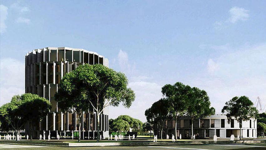 Σχέδιο του Μουσείου Ολοκαυτώματος που θα ανεγερθεί σε χώρο του πρώην σιδηροδρομικού εμπορικού σταθμού της Θεσσαλονίκης.