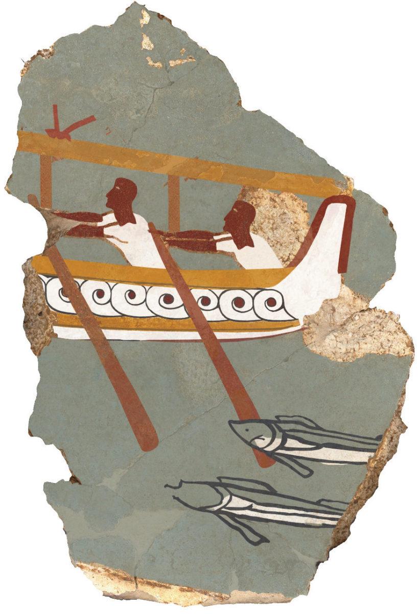 Ίκλαινα. Τμήμα τοιχογραφίας με παράσταση πλοίου.