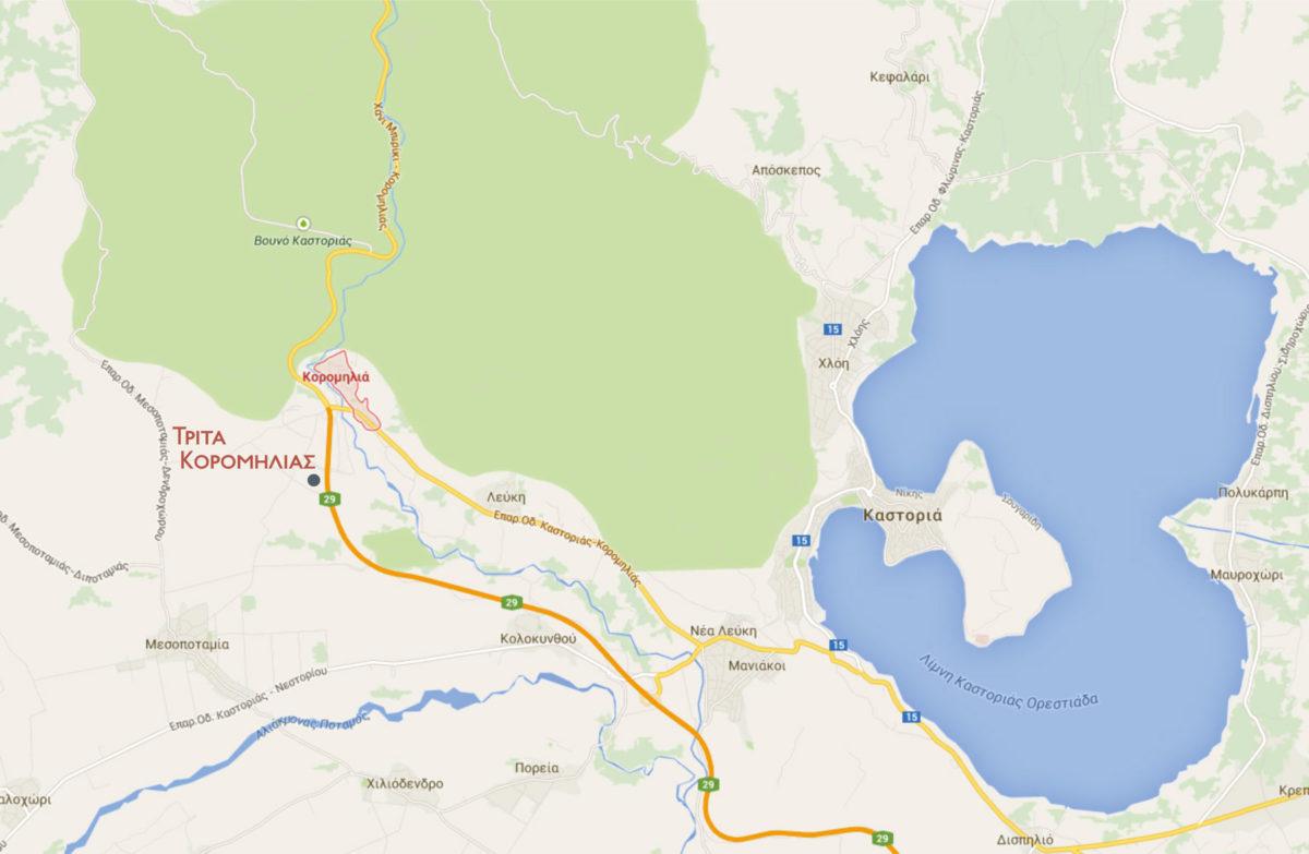 Εικ. 2. Η γεωγραφική θέση της νέας νεολιθικής εγκατάστασης Τρίτα Κορομηλιάς.