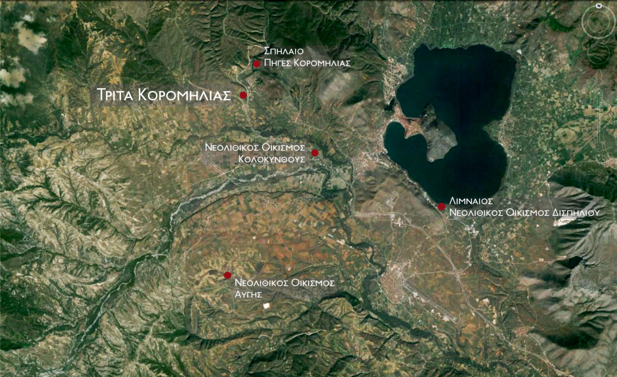 Εικ. 4. Ανασκαμμένες νεολιθικές θέσεις στην ευρύτερη περιοχή της νεολιθικής   εγκατάστασης Τρίτα Κορομηλιάς.