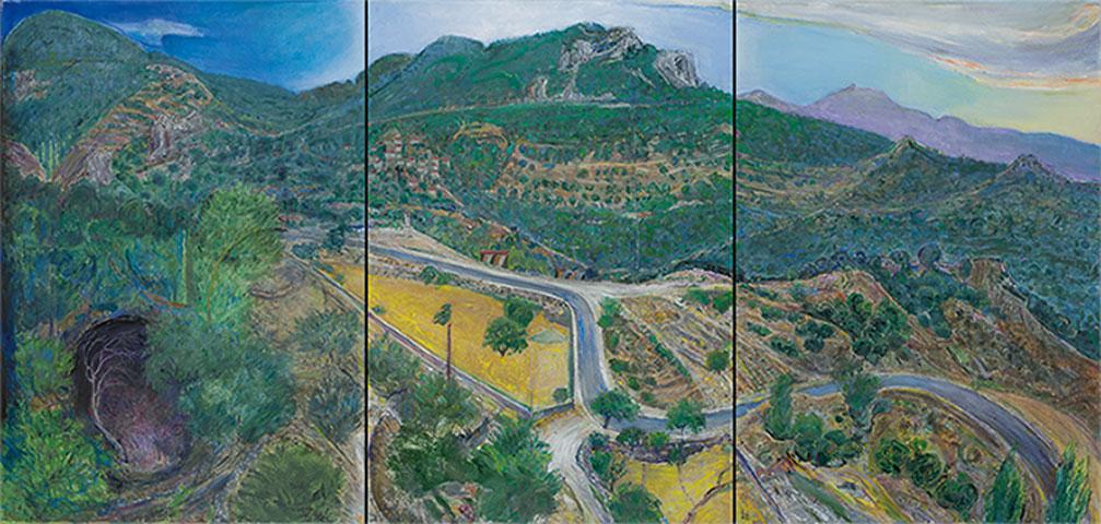 Χρόνης Μπότσογλου, «Ώρες του βουνού», 2013. Τρίπτυχο, ελαιογραφία σε καμβά. Συλλογή της Τράπεζας της Ελλάδος.