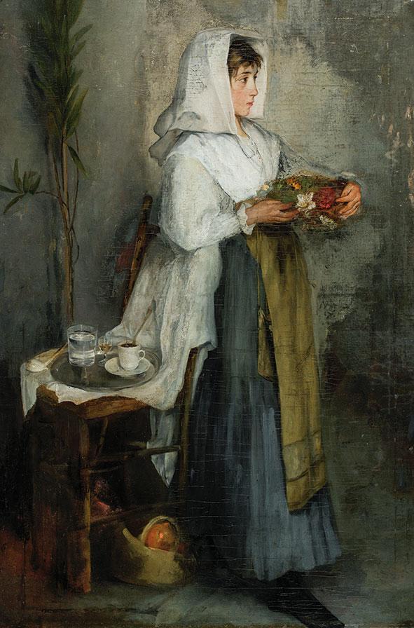 Ιωάννης Ζαχαρίας, «Όρθιο κορίτσι», 1866-73, ελαιογραφία σε καμβά. Συλλογή της Τράπεζας της Ελλάδος.