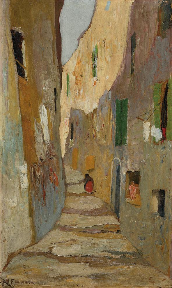 Μιχάλης Οικονόμου, «Δρόμος της παλιάς Μασσαλίας», 1920-25, ελαιογραφία σε χαρτόνι. Συλλογή της Τράπεζας της Ελλάδος.