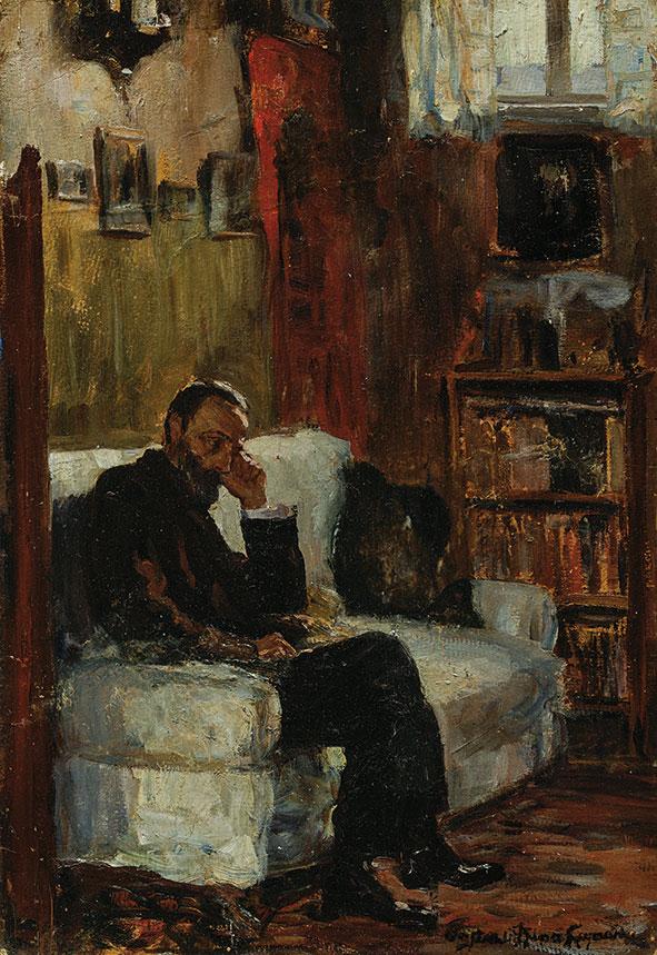 Θάλεια Φλωρά-Καραβία, «Μοναξιά», 1907-12, ελαιογραφία σε χαρτόνι. Συλλογή της Τράπεζας της Ελλάδος.