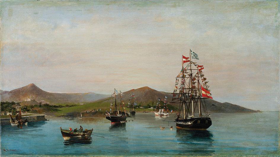 Κωνσταντίνος Βολανάκης, «Σημαιοστόλιστα πλοία», 1889-93, ελαιογραφία σε καμβά. Συλλογή της Τράπεζας της Ελλάδος.