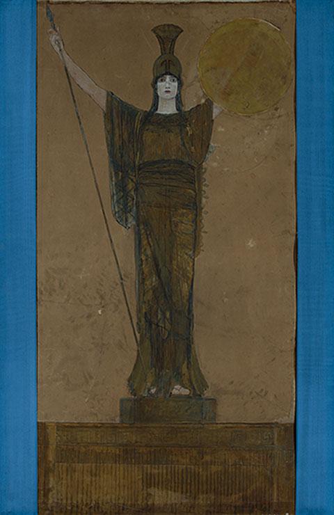 Νικόλαος Γύζης, «Παλλάς Αθηνά» (σχέδιο για το λάβαρο του Πανεπιστημίου Αθηνών), 1887, μικτή τεχνική (κάρβουνο, παστέλ, γκουάς, υδατογραφία σε χρωματιστό χαρτί, κολάζ, ύφασμα). Συλλογή της Τράπεζας της Ελλάδος.