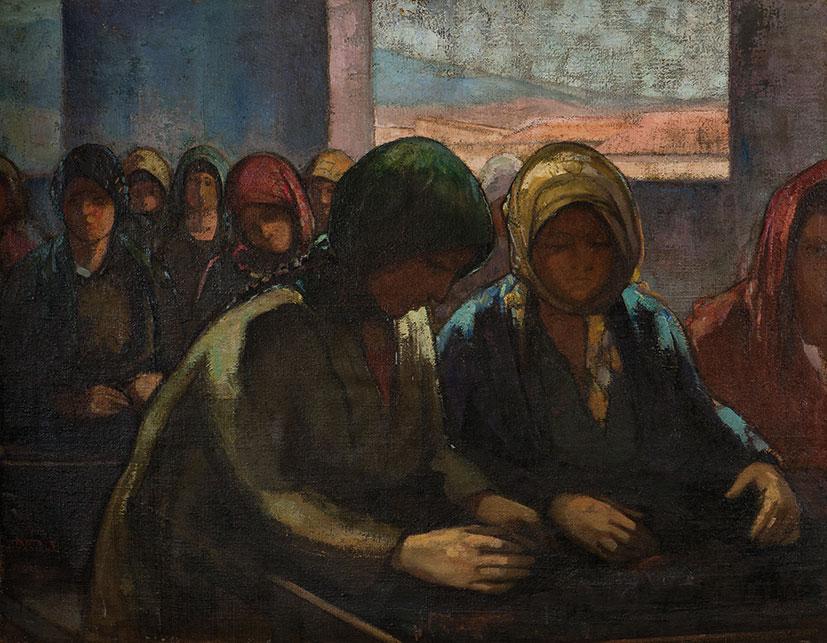 Θεόφραστος Τριανταφυλλίδης, «Εργάτριες σταφίδας», 1920-25, ελαιογραφία σε καμβά. Συλλογή της Τράπεζας της Ελλάδος.