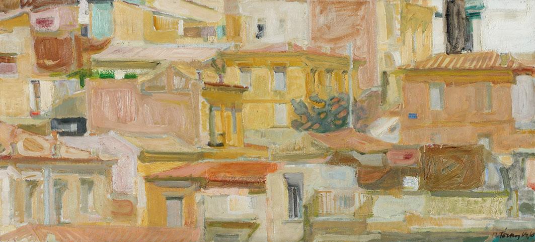 Παναγιώτης Τέτσης, «Τοπίο της Αθήνας», 1960, ελαιογραφία σε καμβά. Συλλογή της Τράπεζας της Ελλάδος.